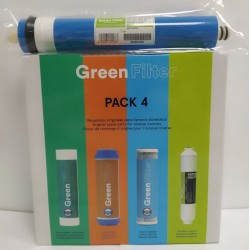 Pack 4 Green Filter Post-Carbon Filters + 50 GPD Membrane